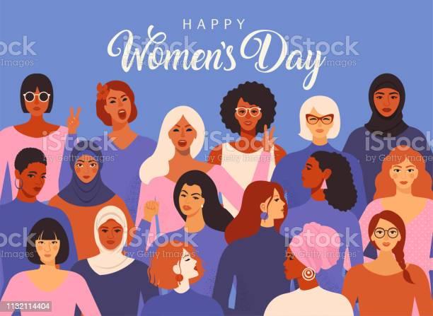 Female Diverse Faces Of Different Ethnicity Poster Women Empowerment Movement Pattern International Womens Day Graphic Vector - Arte vetorial de stock e mais imagens de Adulto