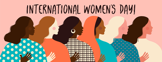 Female diverse faces of different ethnicity poster. Women empowerment movement pattern. International women´s day graphic in vector.