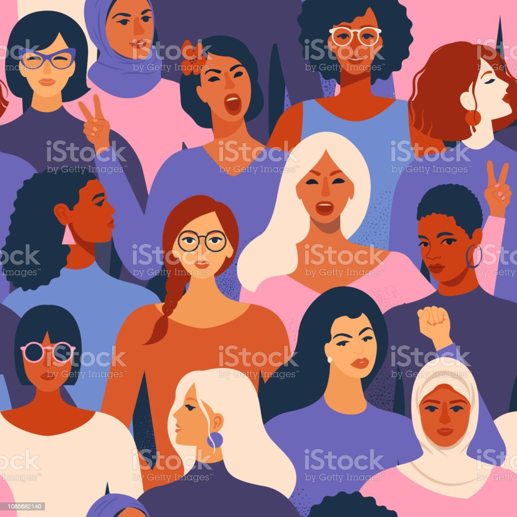 Female diverse faces of different ethnicity seamless pattern. Women empowerment movement pattern. International womens day graphic in vector.
