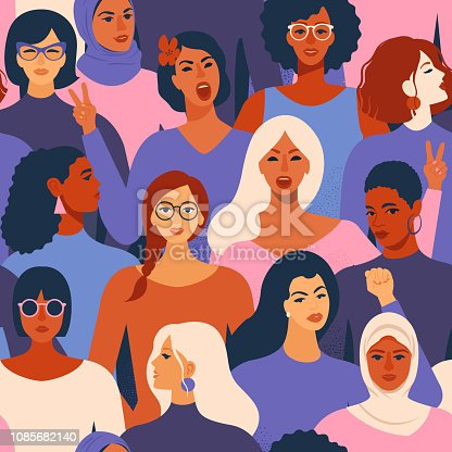 Female diverse faces of different ethnicity seamless pattern. Women empowerment movement pattern International womens day graphic in vector.