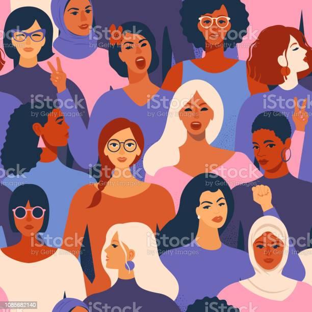 Female diverse faces of different ethnicity seamless pattern women vector id1085682140?b=1&k=6&m=1085682140&s=612x612&h=gv0qwupgngyubwdh7xfcf xkasoak dol7bvdx9stlm=