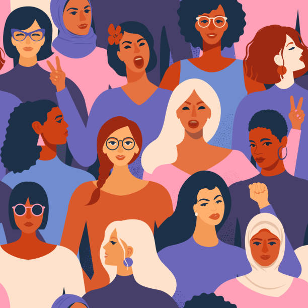 stockillustraties, clipart, cartoons en iconen met vrouwelijke verschillende gezichten van verschillende etniciteit naadloze patroon. vrouwen empowerment bewegingspatroon. internationale womens dag afbeelding in vector. - leader