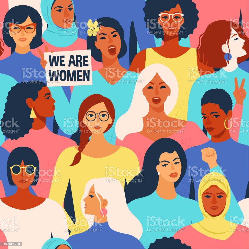 Mujeres caras diversas de patrones sin fisuras de diferente etnia. Patrón de movimiento de empoderamiento de las mujeres. Vector de día internacional de la women´s. ilustración de mujeres caras diversas de patrones sin fisuras de diferente etnia patrón de movimiento de empoderamiento de las mujeres vector de día internacional de la womens y más vectores libres de derechos de a la moda libre de derechos