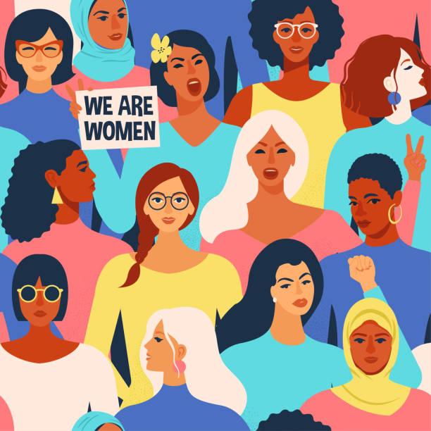異なる民族のシームレスなパターンの女性の多様な顔。女性エンパワーメント運動パターン。国際 women´s 日ベクター。 - ポートレート点のイラスト素材/クリップアート素材/マンガ素材/アイコン素材