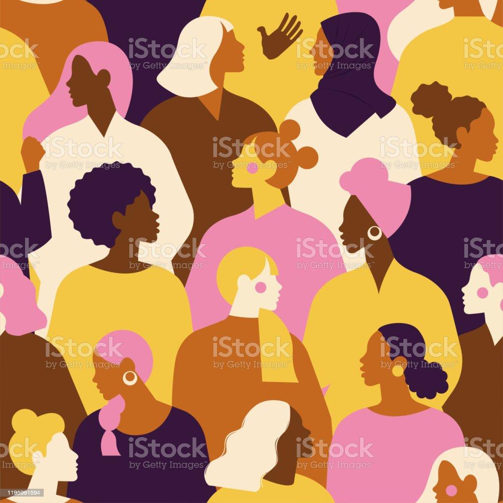 Vrouwelijke diverse gezichten van verschillende etniciteit naadloze patroon. Vrouwen empowerment beweging patroon. Internationale Vrouwendag graphic in vector. - Royalty-free Achtergrond - Thema vectorkunst
