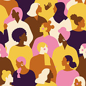 istock Female diverse faces of different ethnicity seamless pattern. Women empowerment movement pattern. International women's day graphic in vector. 1195991594