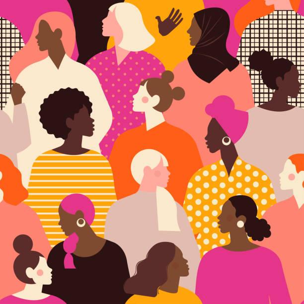 ilustrações de stock, clip art, desenhos animados e ícones de female diverse faces of different ethnicity seamless pattern. women empowerment movement pattern. international women's day graphic in vector. - mulher