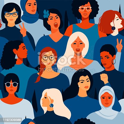 Female diverse faces of different women seamless pattern. Vector seamless pattern.