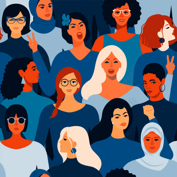 weibliche verschiedene gesichter von verschiedenen frauen nahtlose muster. vektor nahtloses muster. - frau stock-grafiken, -clipart, -cartoons und -symbole