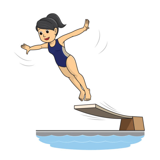 ilustrações de stock, clip art, desenhos animados e ícones de a female diving athlete spreading her hand to jump into the water in the water jumping competition - jump pool, swimmer