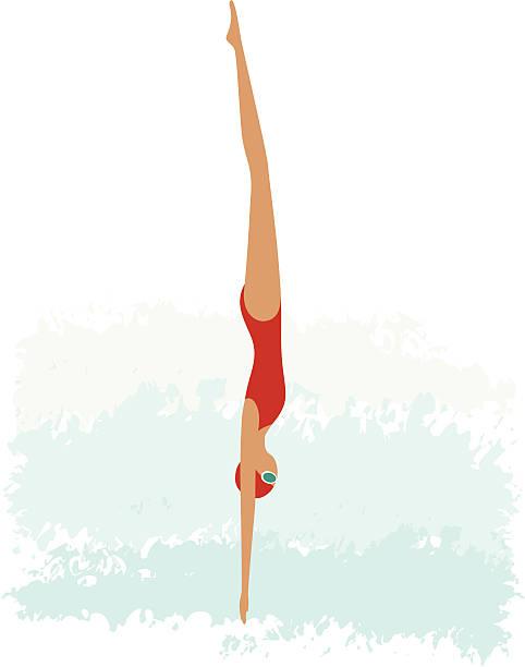 Female diving vector art illustration
