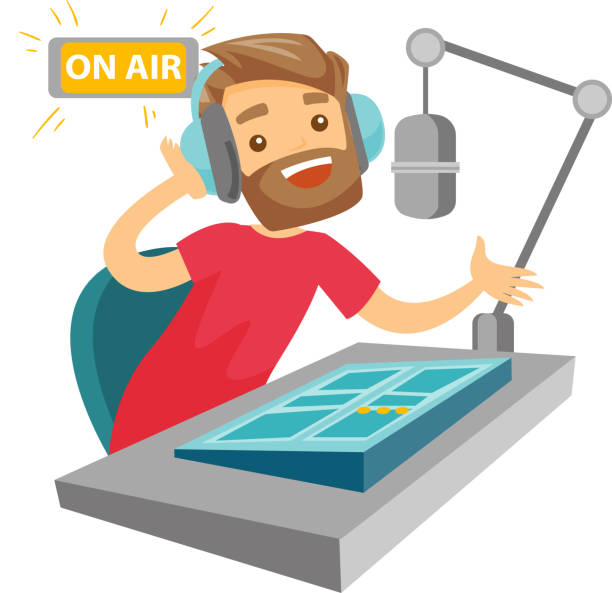 Female dj working on the radio vector illustration Female radio dj working in front of microphone, computer and mixing console on radio. Caucasian female radio dj in headset working on a radio station. Vector cartoon illustration. Square layout. radio dj stock illustrations
