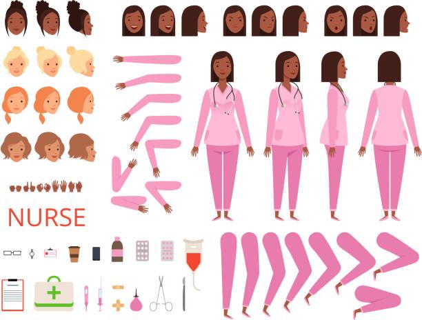 ilustrações, clipart, desenhos animados e ícones de animação médica. enfermeiro hospital personagem corpo peças e roupas saúde mascote criação kit vector - landscape creation kit