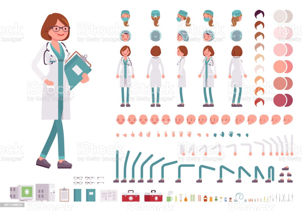 Female doctor character creation set vector art illustration