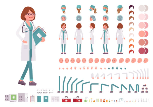 female doctor character creation set - nurse stock illustrations, clip art, cartoons, & icons