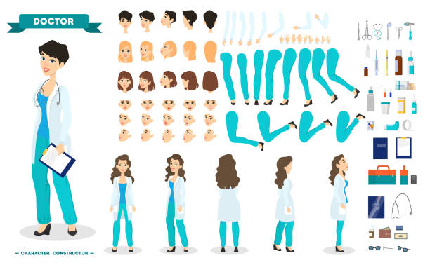 Female doctor character set for the animation vector art illustration