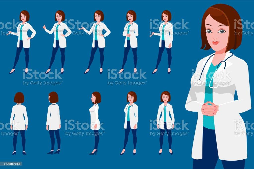 Female doctor Character turnaround with presentation posses - arte vettoriale royalty-free di Abbigliamento da lavoro