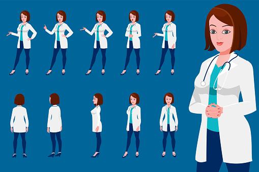 Female Doctor Character Turnaround With Presentation Posses - Immagini vettoriali stock e altre immagini di Abbigliamento da lavoro