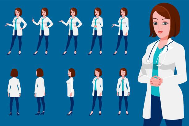 illustrazioni stock, clip art, cartoni animati e icone di tendenza di female doctor character turnaround with presentation posses - dottoressa