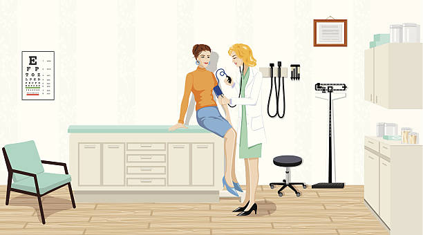 female doctor checking blood pressure - doctors office stock illustrations, clip art, cartoons, & icons
