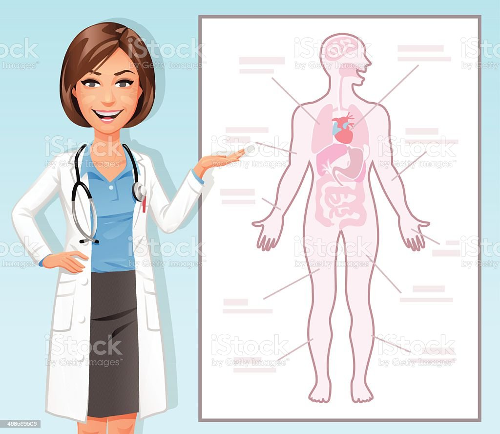 Female Doctor Explaining The Human Body vector art illustration