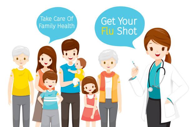 illustrations, cliparts, dessins animés et icônes de docteur féminin retenant la seringue hypodermique, obtenez votre projectile de grippe dans la bulle de parole, prenez soin de la santé de famille en injectant le vaccin de grippe - vaccin enfant