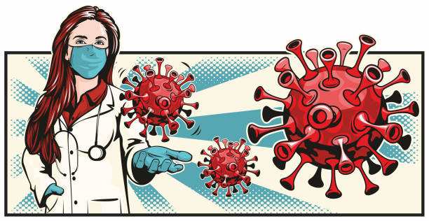 Female Doctor Holding Virus Bacteria vector art illustration