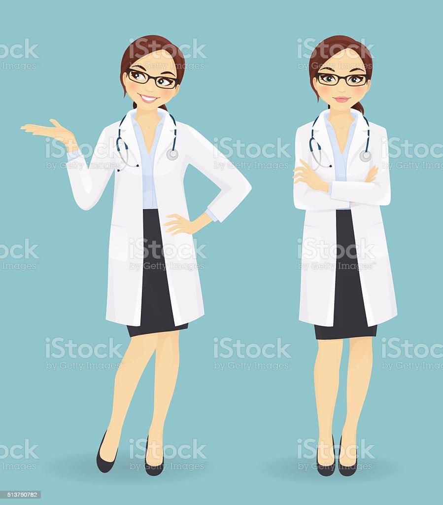 Doctora en diferentes plantea - ilustración de arte vectorial