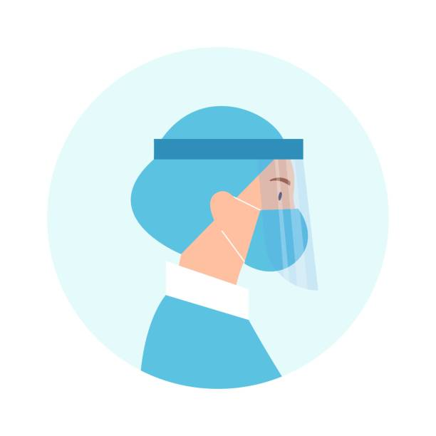 Female doctor in face shield vector illustration Female doctor in face shield vector illustration. Flat character - young black woman wearing medical cap, face mask and face shield. Coronavirus protection, covid-19, safety, health care concepts. surgical cap stock illustrations