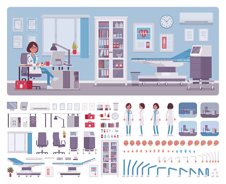 Female doctor in general practitioner office interior creation kit