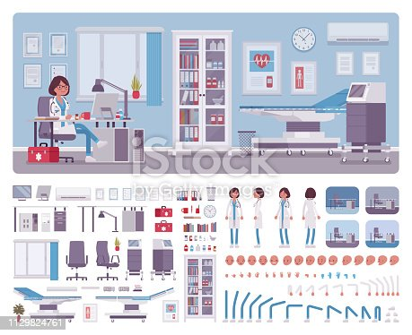 Female doctor in general practitioner office interior creation kit, workspace set, furniture, build own design with wall, floor color constructor elements. Cartoon flat style infographic illustration