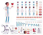 Female doctor, clinic uniform character creation set. Full length, different views, emotions, gestures. Medicine, healthcare concept. Build your own design. Cartoon flat-style infographic illustration