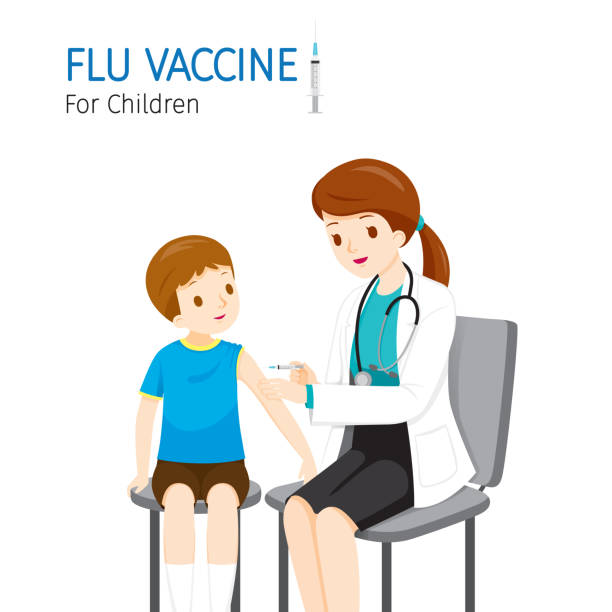 illustrations, cliparts, dessins animés et icônes de docteur féminin injectant le vaccin de grippe pour des enfants - vaccin enfant