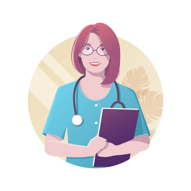 ärztin, medizinische zeug - assistent stock-grafiken, -clipart, -cartoons und -symbole