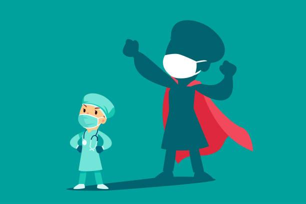 Ärztin oder Krankenschwester trägt medizinische Maske mit Schatten als Superheld – Vektorgrafik