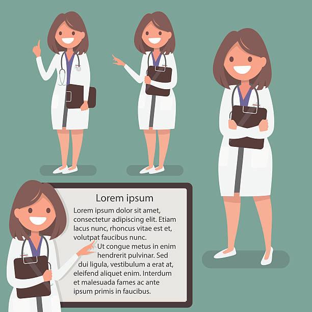 illustrazioni stock, clip art, cartoni animati e icone di tendenza di femmina medico presentato in diverse azioni. il carattere per poster - dottoressa