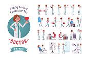 Doctor ready-to-use character set. Female practitioner on duty in clinic, working in hospital, full length, different views, gestures, emotions, front and rear view. Medicine and healthcare concept