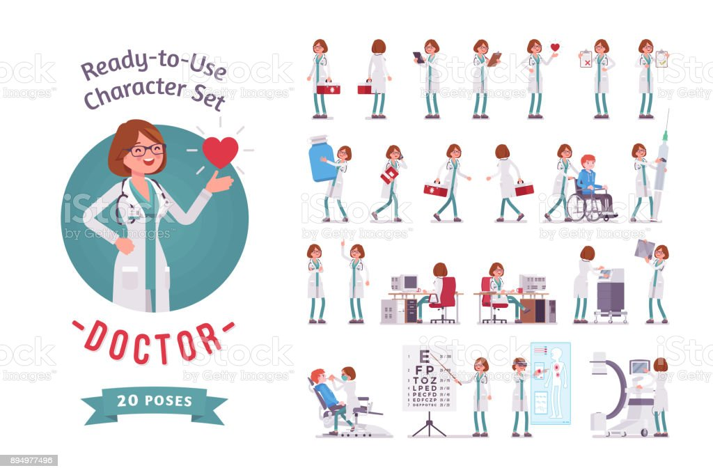 Female Doctor ready-to-use character set vector art illustration