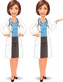 Illustration of a smiling young female doctor with a stethoscope, wearing a blue shirt, a dark gray skirt and a lab coat against white backround. In two poses: having her hands on her hips and holding her hand out in a presenting gesture. She is smiling or talking and looking at the camera.  EPS 10, grouped and labeled in layers.