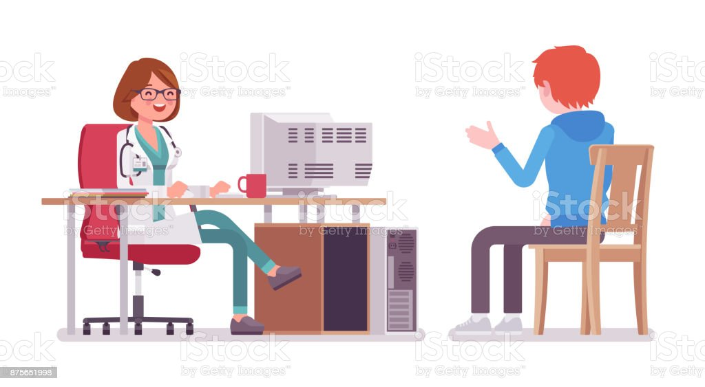 Female doctor therapist consulting patient vector art illustration