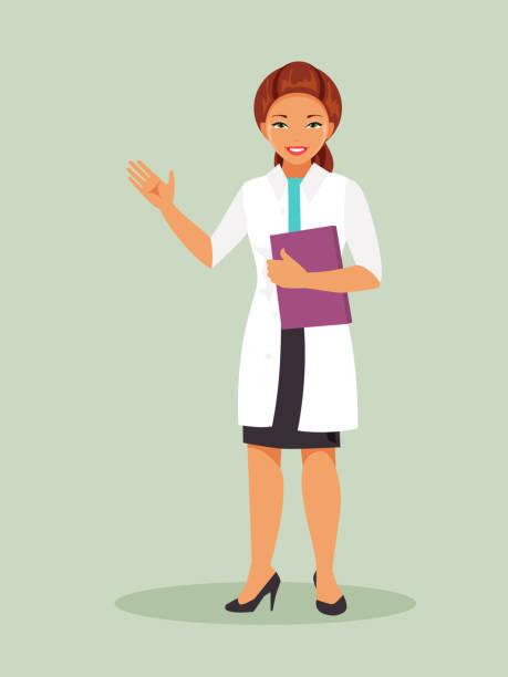 illustrazioni stock, clip art, cartoni animati e icone di tendenza di female doctor - dottoressa