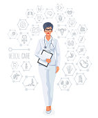 Female Doctor Vector. Medical Care.