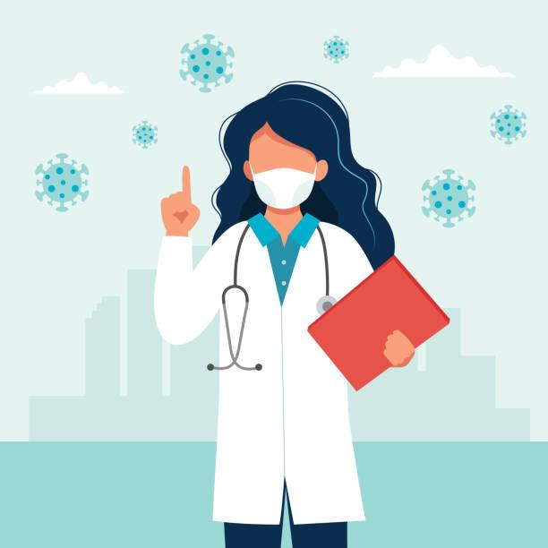 의료 용 마스크를 착용 하는 여성 의사. 코로나 바이러스 covid-19 예방 개념. 플랫 스타일의 벡터 일러스트레이션 - doctor stock illustrations