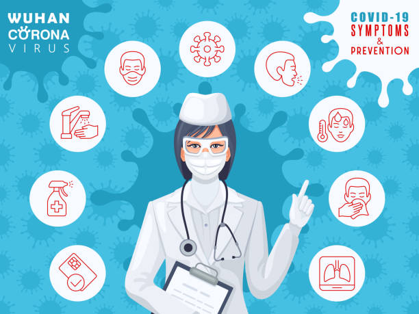 Female doctor wearing a medical mask. Coronavirus COVID-19 symptoms and prevention concept. vector art illustration