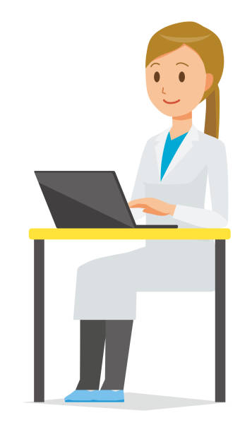 A female doctor wearing a white coat is operating a laptop computer vector art illustration