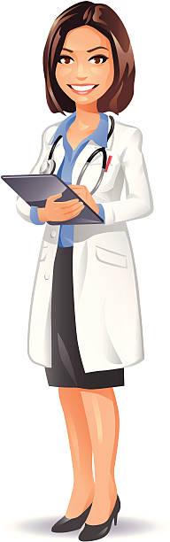 illustrazioni stock, clip art, cartoni animati e icone di tendenza di femmina medico con un computer tablet - dottoressa