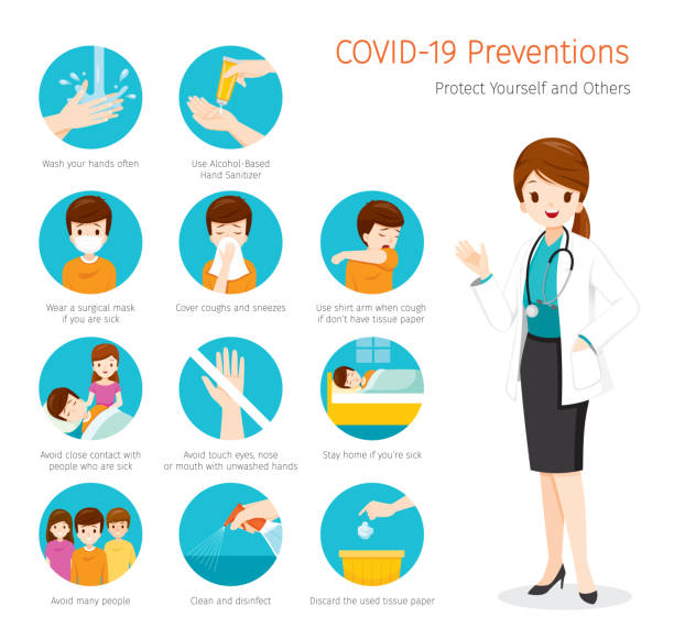 ilustrações de stock, clip art, desenhos animados e ícones de female doctor with coronavirus disease, covid-19 preventions, steps to protection yourself and others - covid 19