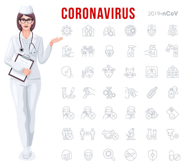 Female Doctor with Covid-19 outbreak prevention icon set vector art illustration