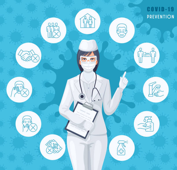 Female Doctor with Covid-19 outbreak prevention icons set. vector art illustration
