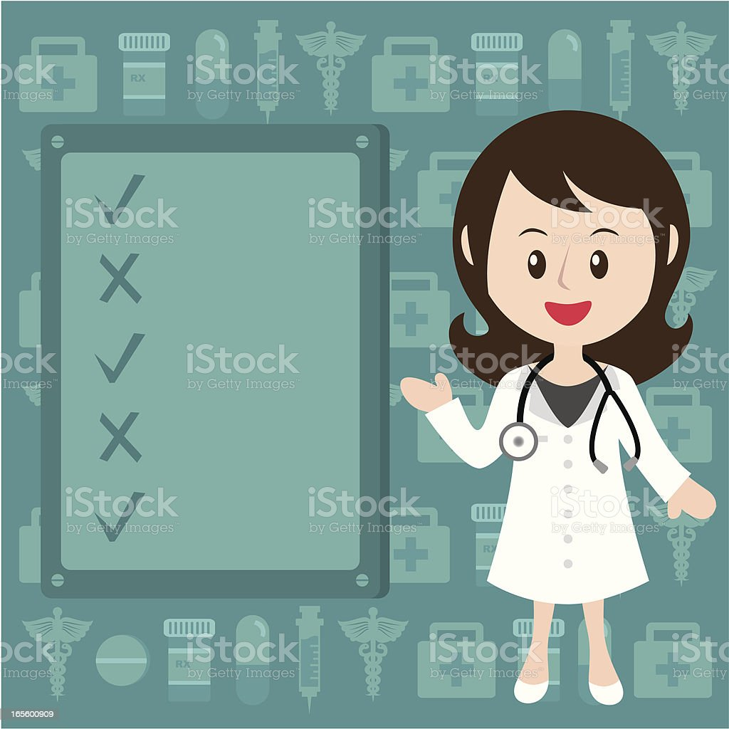 Female doctor with message board royalty-free stock vector art